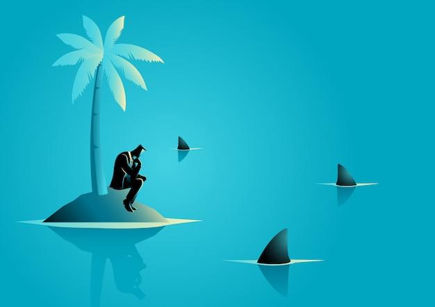 Zakenman vast komen te zitten op het eiland met water vol met haai