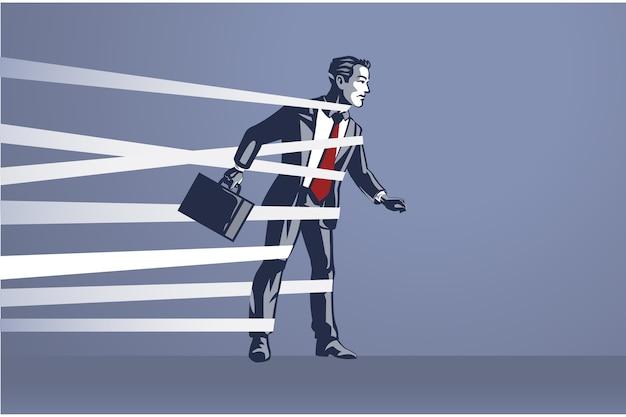 Zakenman vastgebonden kan niet vrij bewegen blue collar illustration concept