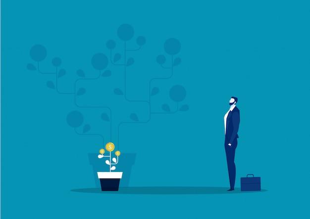Zakenman verbeelding plant geld muntboom groei toekomstige illustratie voor investeringsconcept.
