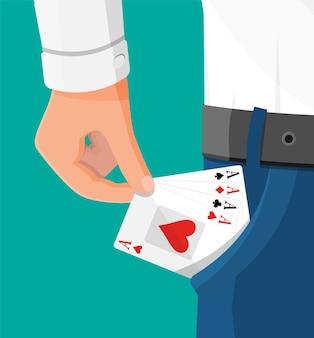 Zakenman verbergt azen speelkaarten in zijn zak. aas in de zak. concept van back-up of plan b, tweede kans. vals spelen, geluk of zakelijk succes. platte vectorillustratie