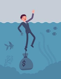 Zakenman verdrinkt geketend met een dollarzak