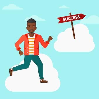 Zakenman verhuizen naar succes.
