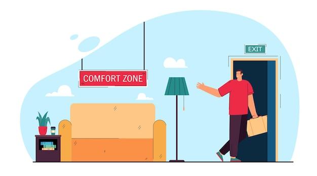 Zakenman verlaten comfortzone vlakke afbeelding