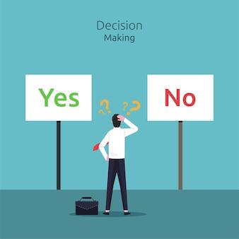 Zakenman verwarrend om een beslissing te nemen tussen ja of nee illustratie.