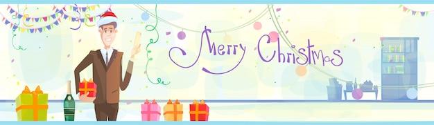 Zakenman vieren merry christmas