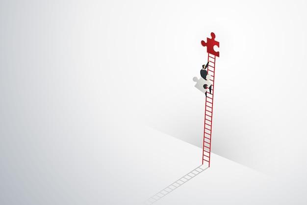 Zakenman visie creatief concept oplossing kansen bovenop ladder klimmen puzzel elementen succes.