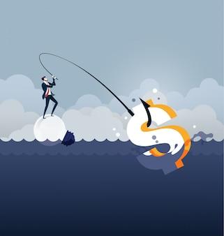 Zakenman vissen dollar geld, geld verdienen van idee