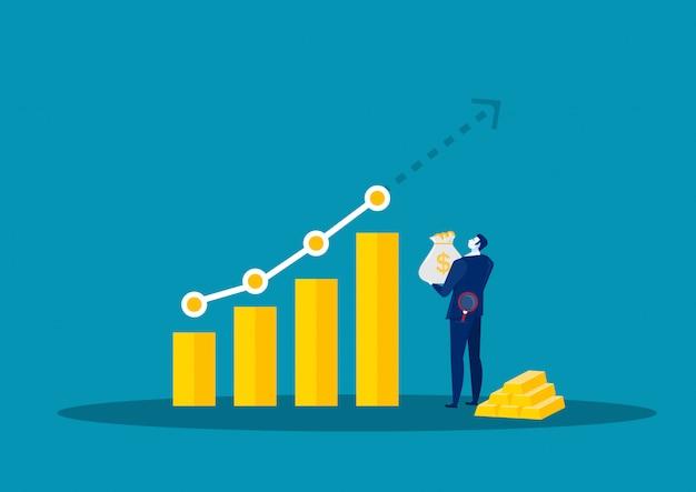 Zakenman watch-grafiek voor analyseert de groeimarkt de vectorillustratie van de grafiekvoorraad.