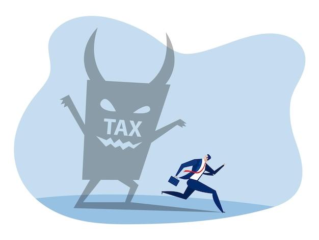 Zakenman wegrennen van belastingduivel. betaal belasting financieringsvector.