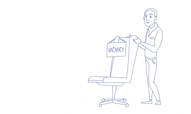 Zakenman werving nieuwe baan positie vacature schets doodle horizontaal