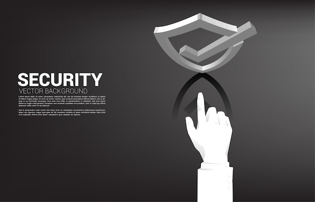 Zakenman wijs vinger op 3d bescherming schild pictogram. concept van bewaker beveiliging en veiligheid