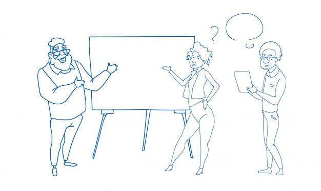 Zakenman wijzen lege flip-over seminar seminar training conferentie mensen groep brainstormen presentatie schets doodle