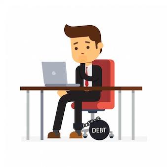 Zakenman zit op een bureaustoel en zware schulden