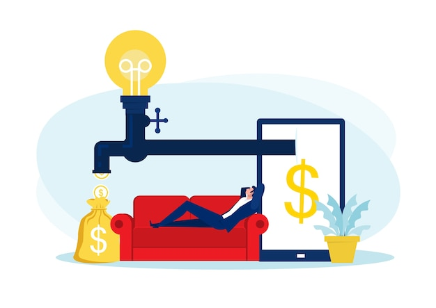 Zakenman zittend op de bank, ontspannen en passief geld verdienen. financiën, investeringen, rijkdom, passief inkomen. concept werkbureau
