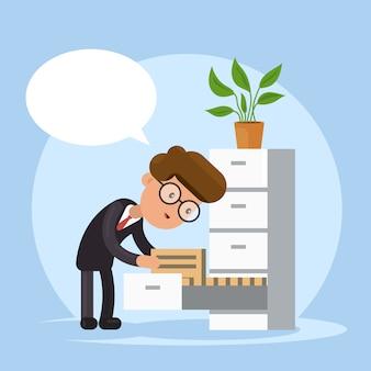 Zakenman zoeken document in stapel van mappen. kantoorbureaucratie.
