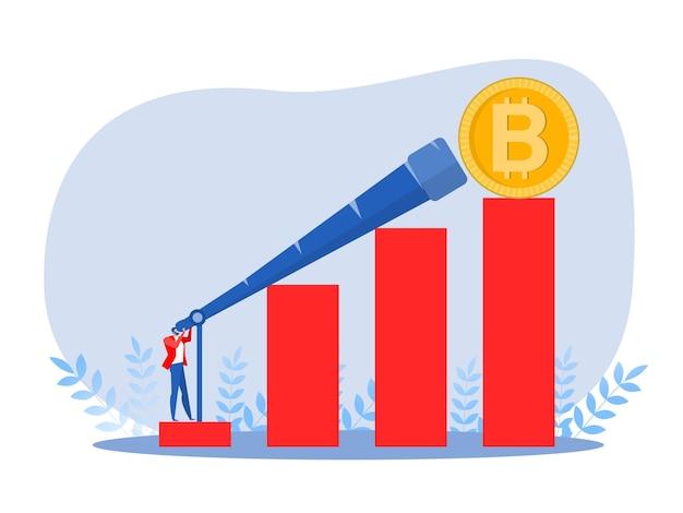Zakenman zoekt naar een nieuwe groeivaluta, bitcoin-kansen en nieuwe winsten vectorillustratie.