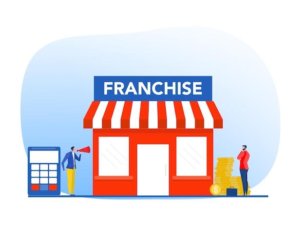 Zakenmanaanbieding investeren met kleine bedrijven of franchisetakuitbreidingsstrategie van financiële marketingplanning vectorillustrator