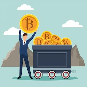 Zakenmanavatar die bitcoins zoeken