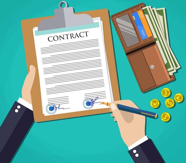 Zakenmandocument dat contractovereenkomst ondertekent,