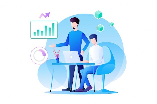 Zakenmanenteamwerk werkt aan analytics van marketing en hun product met grafiek, informatie en gegevensanalyse. platte karakter ontwerp illustratie
