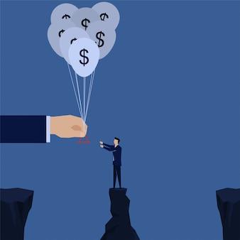 Zakenmanfaillissement door de dollarballon die van de handgreep wordt geholpen.