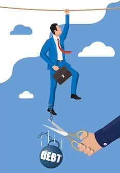 Zakenmanhand met een schaar die de ketting van het schuldgewicht snijdt. groot zwaar schuldgewicht met boeien en zakenman in pak. belastingdruk financiële misdaad, vergoeding, crisis en faillissement. platte vectorillustratie