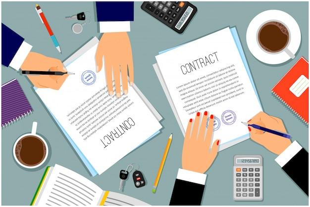 Zakenmanhanden die documenten ondertekenen