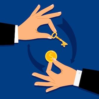 Zakenmanhanden die geld voor sleutel geven