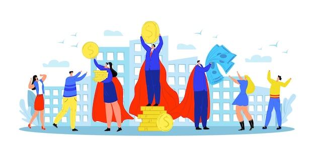 Zakenmanheld geeft geld, vectorillustratie.