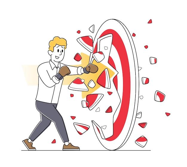 Zakenmankarakter in bokshandschoenen breken enorm doel, bedrijfsdoelmissie, uitdaging, taakoplossing