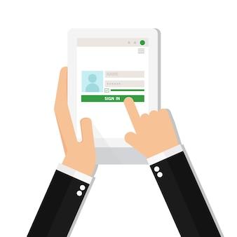 Zakenmanlogin aan rekening op tablet