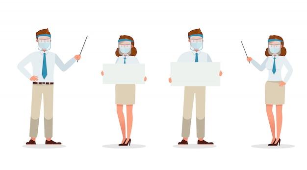Zakenmanmensen die medisch masker en gezichtsschildkarakter dragen. presentatie in verschillende acties. nieuw normaal leven.