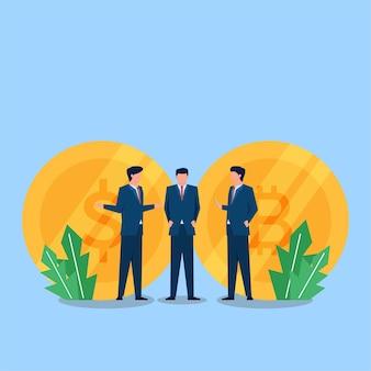 Zakenmanmensen discussiëren over geld en bitcoin