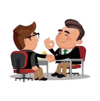 Zakenmanpartners die handen schudden na ondertekening contractovereenkomst contract