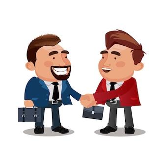 Zakenmanpartners die handen schudden na ondertekening contractovereenkomst