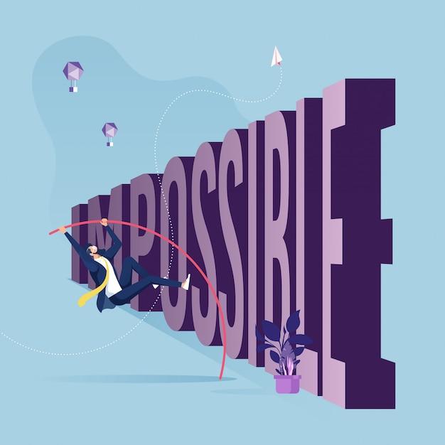 Zakenmanpolsstokspringen over tekst probleem-problemen en hindernissen in bedrijfsconcept