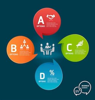 Zakenmanvergadering met het kleurrijke malplaatje van de toespraakbel opties infographic