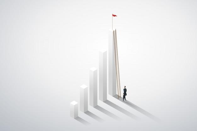 Zakenmanvisie die ladder door over grafiekkansen beklimmen. bedrijfsconcept