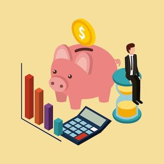 Zakenmanzitting in grafiek van het klok de de piggy muntstuk en calculator