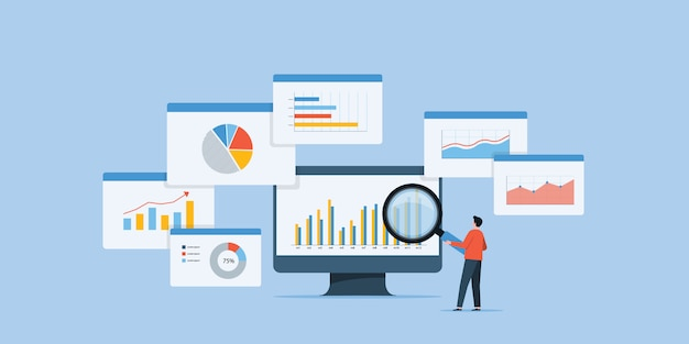 Zakenmensen analyse en monitoring van investeringen