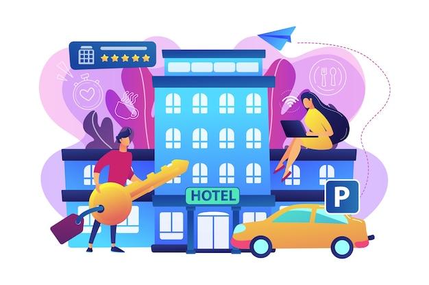 Zakenmensen in het hotel gebruiken alle inbegrepen diensten, accommodaties en wifi-illustraties