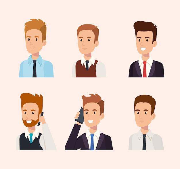 Zakenmensen isometrisch avatars vector illustratieontwerp