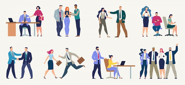 Zakenmensen, kantoorpersoneel platte set