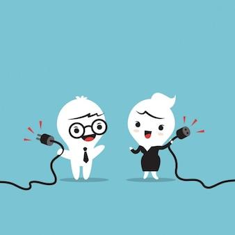 Zakenmensen karakter houden power cable mannelijke en vrouwelijke plug