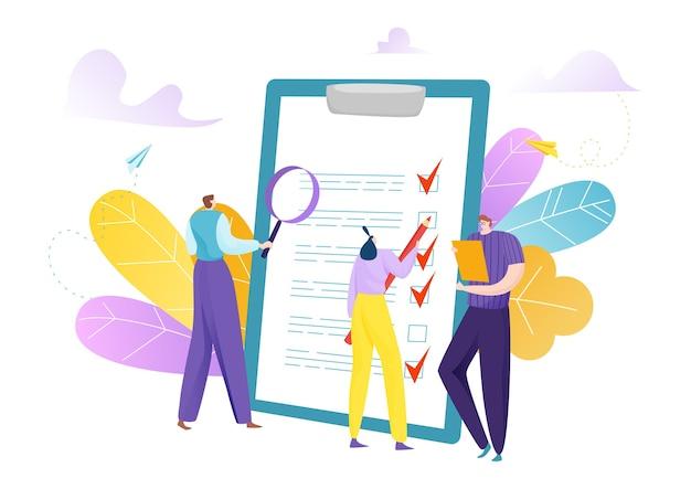 Zakenmensen markeren checklist op klembord platte concept illustratie