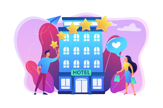 Zakenmensen met beoordelingssterren houden van het stijlvolle boetiekhotel. boutique hotel illustratie
