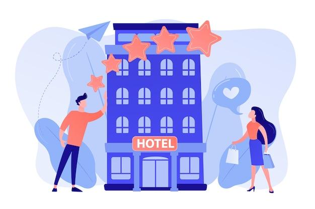Zakenmensen met beoordelingssterren houden van het stijlvolle boetiekhotel