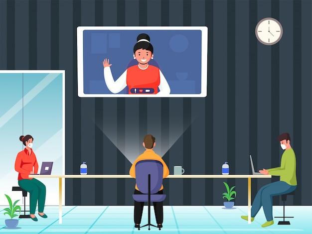 Zakenmensen online kandidaat aanwerven of vergaderen op de werkplek om coronavirus te voorkomen.