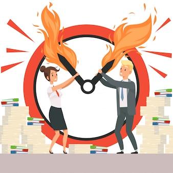 Zakenmensen overbelasten kantoormanagers kunnen klokpijlen niet in vlammen stoppen