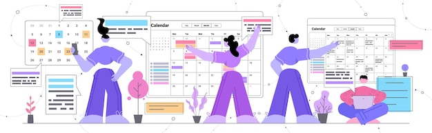 Zakenmensen plannen dag plannen afspraak in online agenda app agenda vergaderplan tijdbeheer deadline
